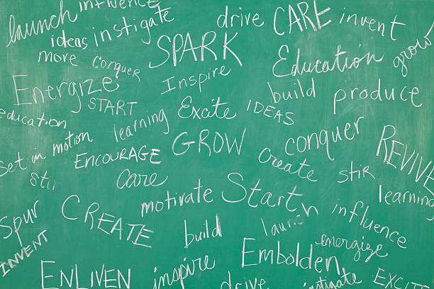 Classroom Chalkboard with motivational words all over it Classroom Chalkboard with motivational words all over it. single word stock pictures, royalty-free photos & images