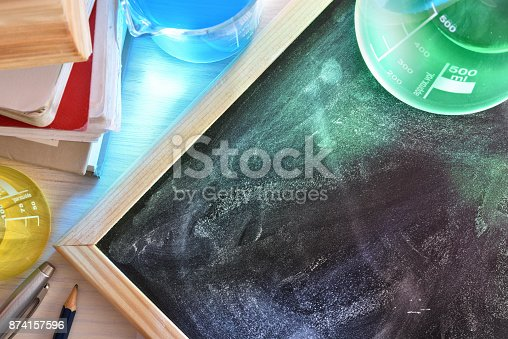 874157676 istock photo Classroom desk and blackboard of chemistry teaching elevated 874157596
