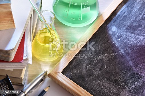 874157676 istock photo Classroom desk and blackboard of chemistry teaching elevated view 874157614