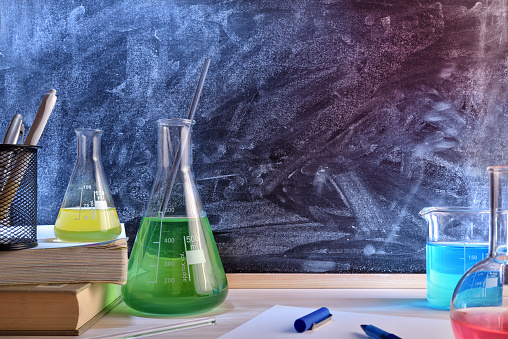 istock Classroom desk and blackboard of chemistry teaching general view 874157616