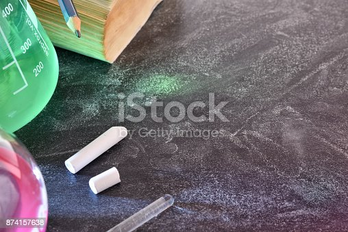 874157676 istock photo Classroom desk and blackboard of chemistry teaching top 874157638