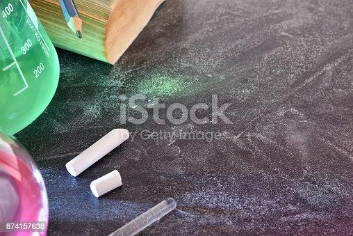 874157676istockphoto Classroom desk and blackboard of chemistry teaching top 874157638