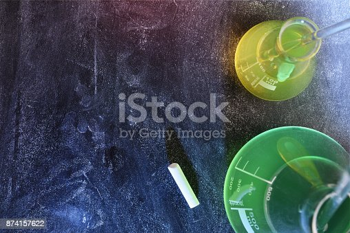 874157676 istock photo Classroom desk and blackboard of chemistry teaching top view 874157622