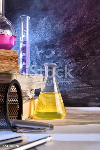 istock Classroom desk and blackboard of chemistry teaching vertical 874157676