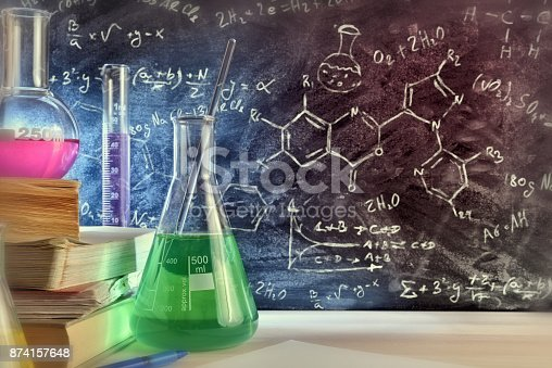 874157676 istock photo Classroom desk and drawn blackboard of chemistry teaching close up 874157648