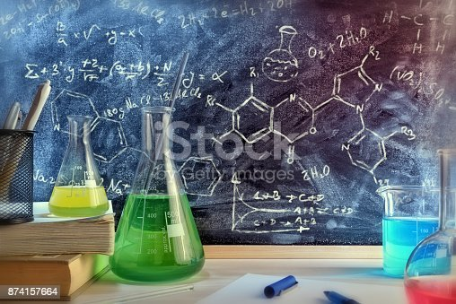 istock Classroom desk and drawn blackboard of chemistry teaching general view 874157664