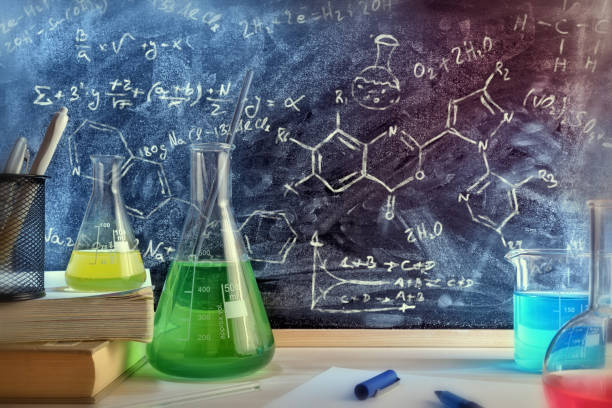 classroom desk and drawn blackboard of chemistry teaching general view - chemical stock photos and pictures