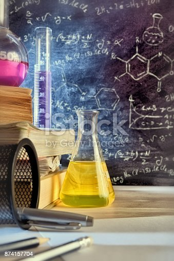 874157676 istock photo Classroom desk and drawn blackboard of chemistry teaching vertical 874157704