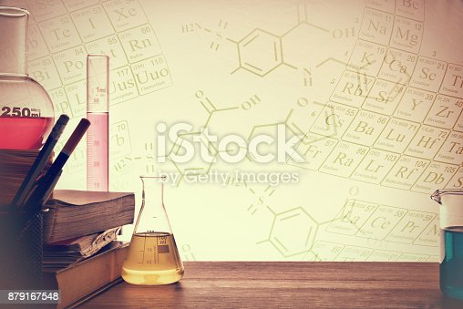 1097010784istockphoto Classroom desk of chemistry teaching background 879167548