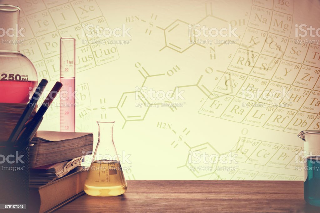Classroom desk of chemistry teaching background stock photo