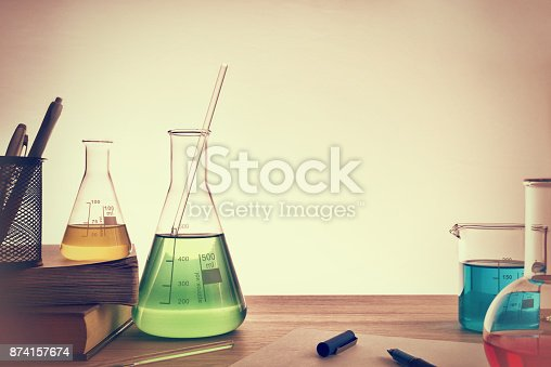 874157676 istock photo Classroom desk of chemistry teaching general view 874157674