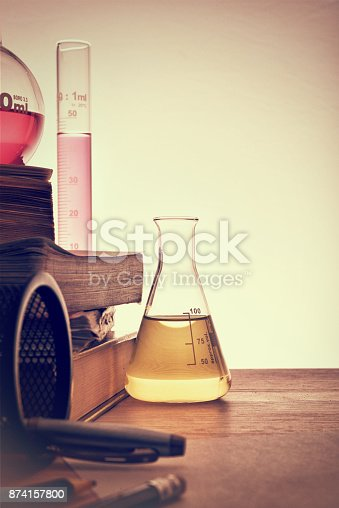 874157676 istock photo Classroom desk of chemistry teaching vertical 874157800
