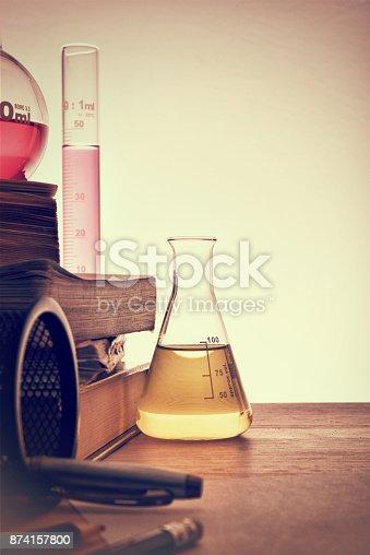 874157676istockphoto Classroom desk of chemistry teaching vertical 874157800