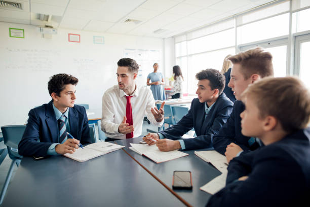classroom discussion - high school teacher stock pictures, royalty-free photos & images
