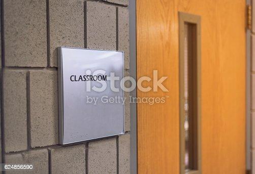 istock Classroom door with sign at school 624856590