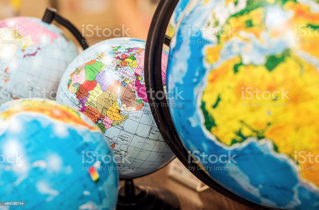 Classroom globes stock photo
