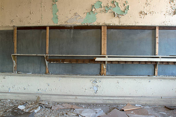 Classroom in decay stock photo