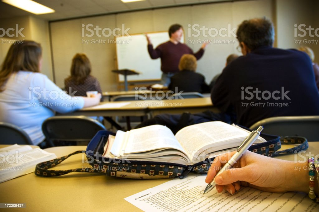 Classroom in session at a University stock photo