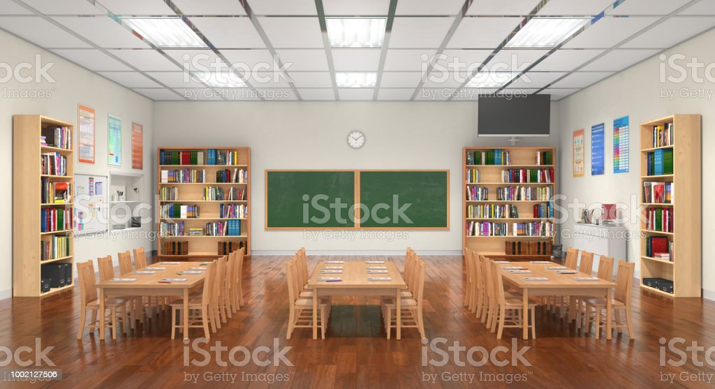 Classroom interior. 3D illustration. stock photo