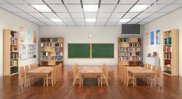 Klassenzimmer-Interieur. 3D Illustration. – Foto