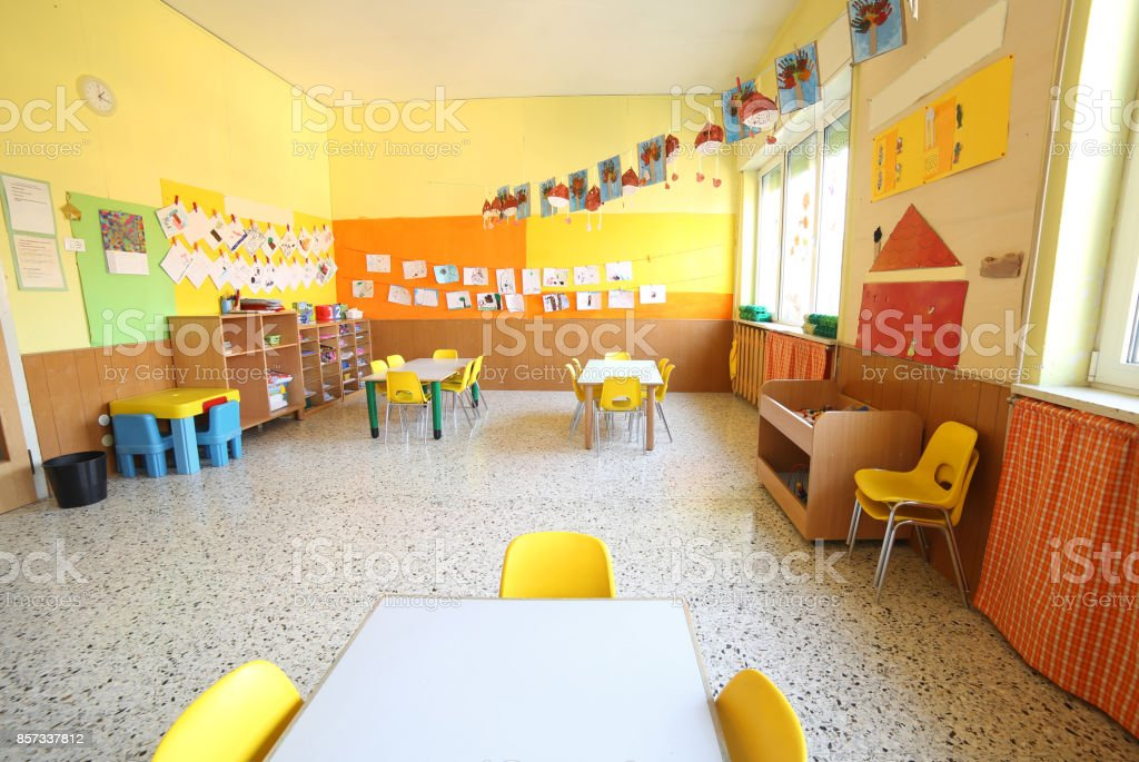 classroom of a daycare center stock photo