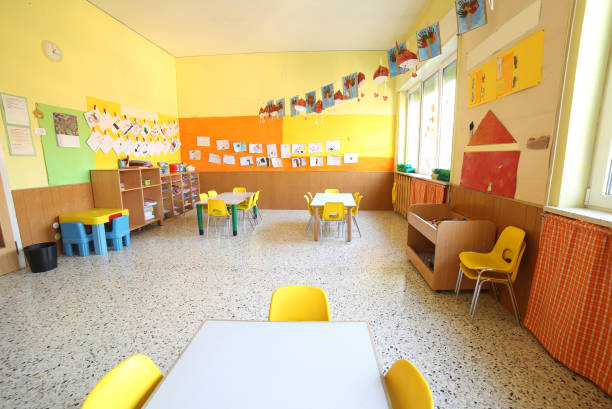 classroom of a daycare center - preschool stock photos and pictures