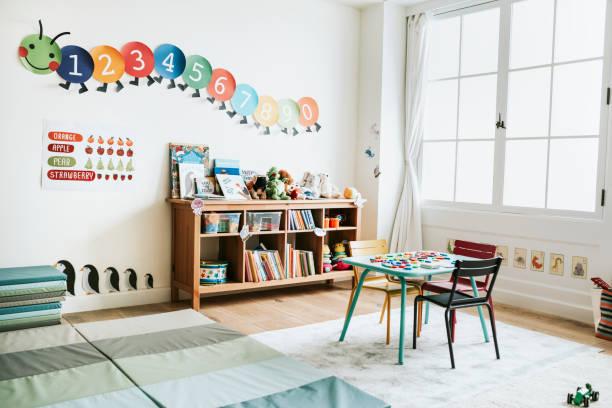 sala de aula do jardim de infância de design de interiores - infância - fotografias e filmes do acervo