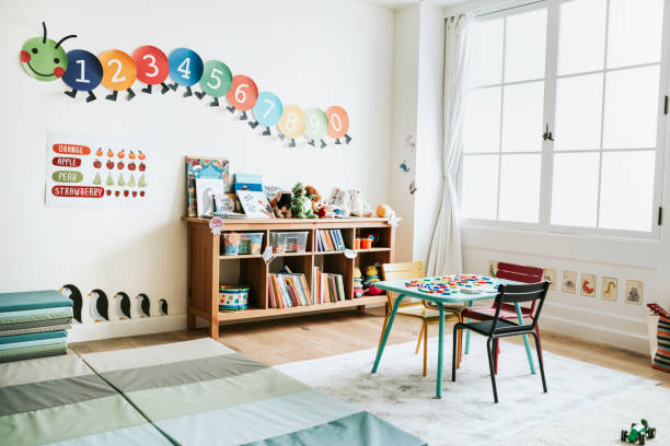classroom of kindergarten interior design - preschool stock photos and pictures