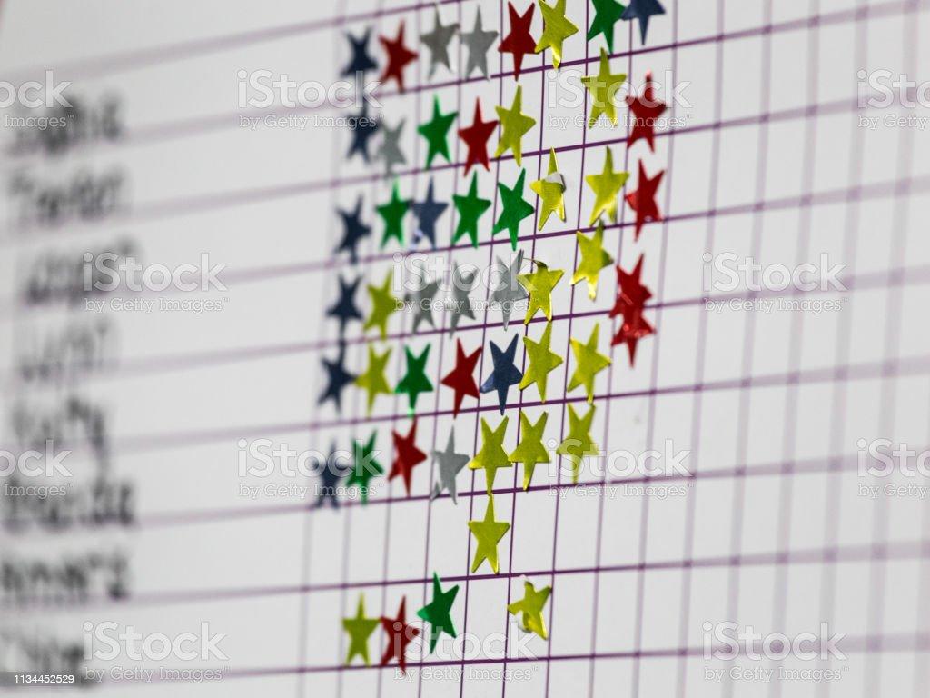 Classroom Student Star Sticker Award Progress Chart - Royalty-free Award Stock Photo