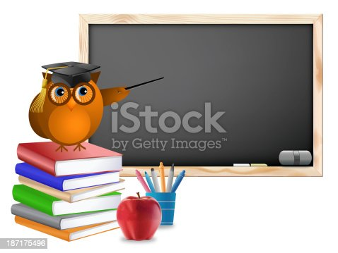 istock Classroom with Chalkboard Books Pens and Apple 187175496