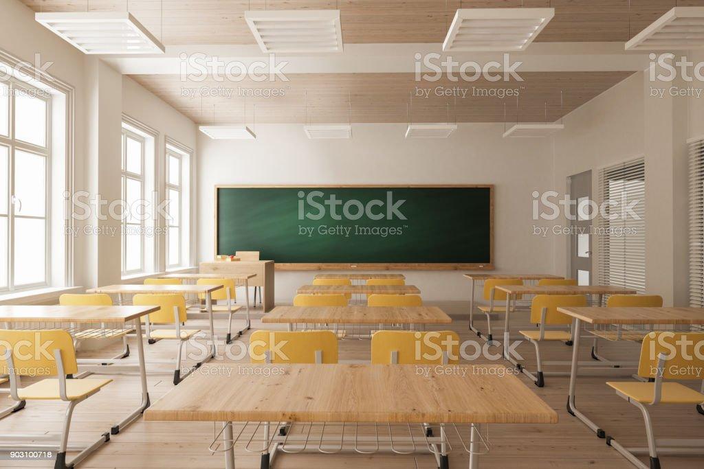 Salle de classe d'un Double bureau et stores intérieurs - Photo