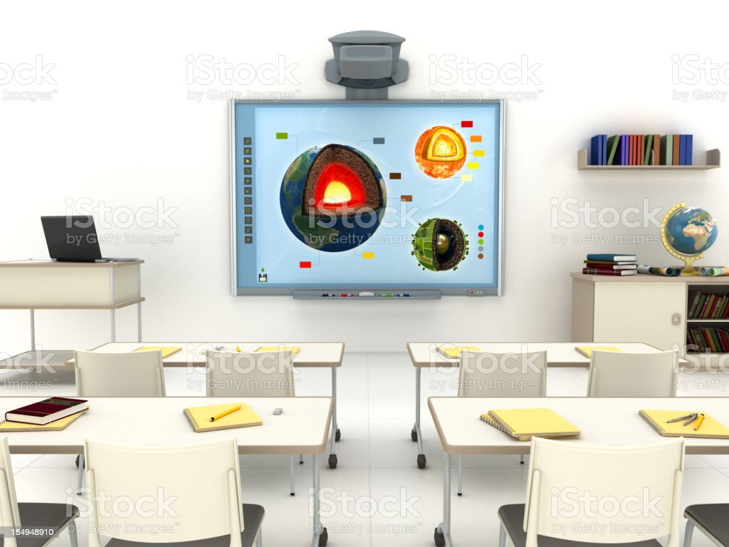 Classroom with interactive whiteboard stock photo