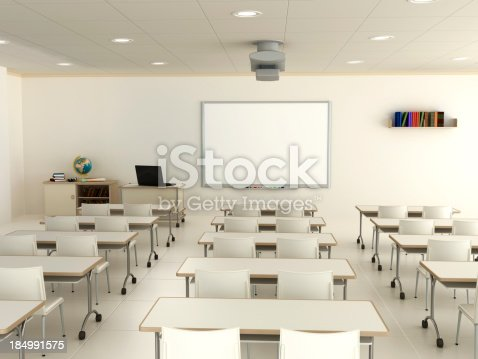 istock Classroom with interactive whiteboard 184991575