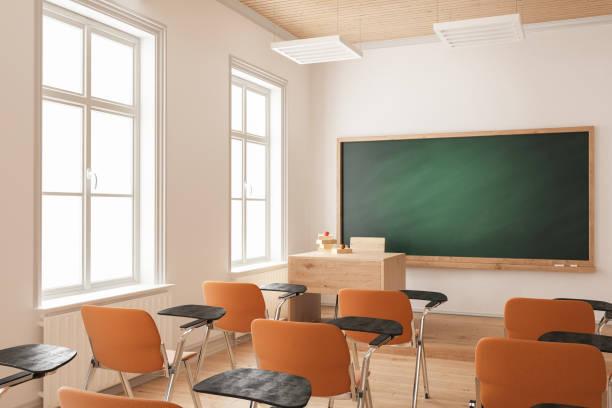 Klassenzimmer mit Orange Stühle – Foto