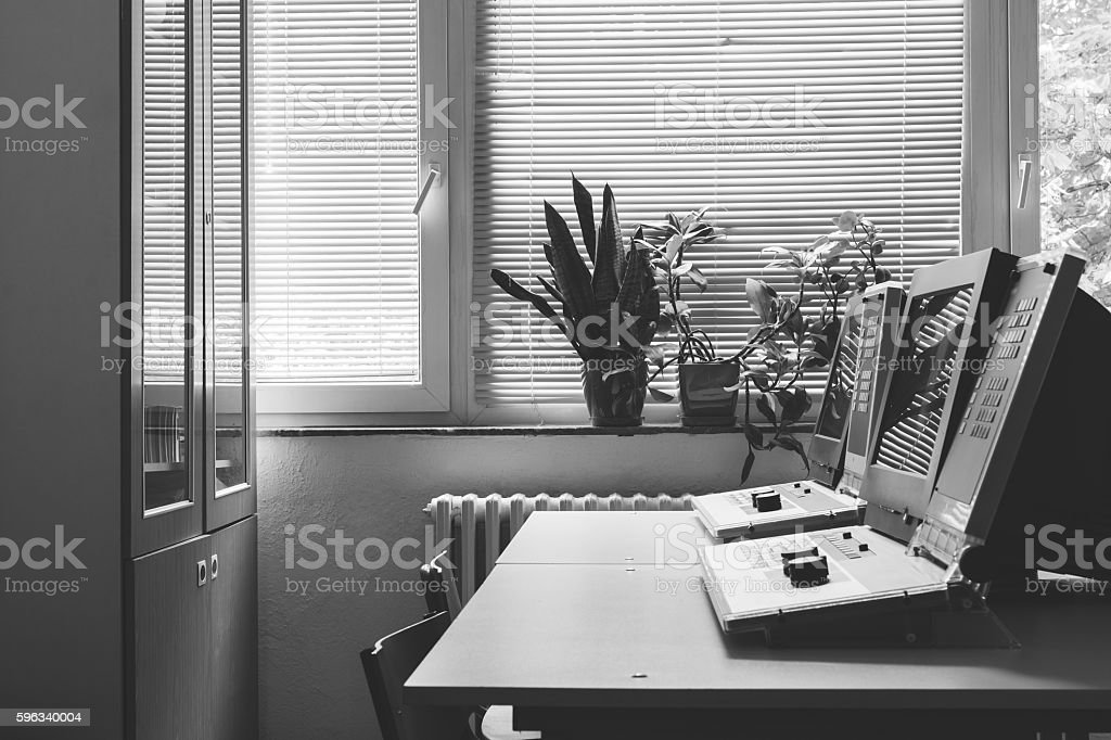 Classroom with PC computers royalty-free stock photo