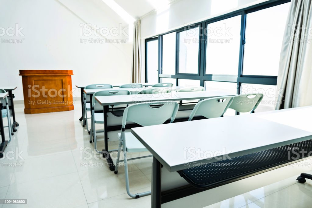 Picture of: Classroom With Tables And Chairs Stock Photo Download Image Now Istock