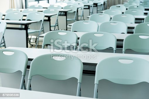 881192038istockphoto Classroom with white tables and chairs 879595336