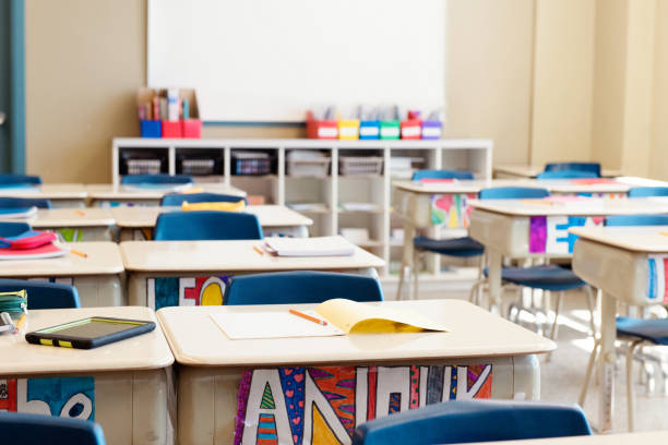 classroom without children at the end of school named often school's out. - classroom stock pictures, royalty-free photos & images