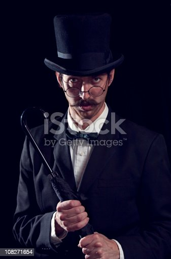istock Classy Mustache Gentleman / Business Man With Top Hat 108271654