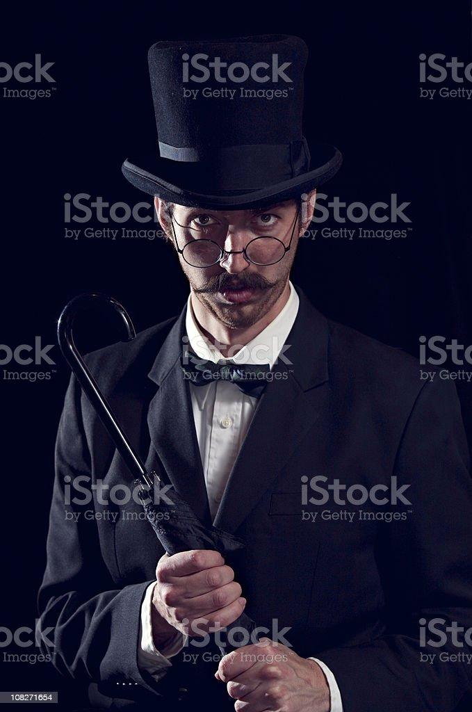 Classy Mustache Gentleman / Business Man With Top Hat stock photo