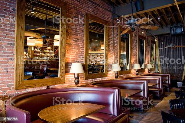 Classy restaurant bar with booths mirrors and red brick walls picture id95762288?b=1&k=6&m=95762288&s=612x612&h=qtvrs8je7chlgefd49ejosivfn3bccunhuuvexs9bni=
