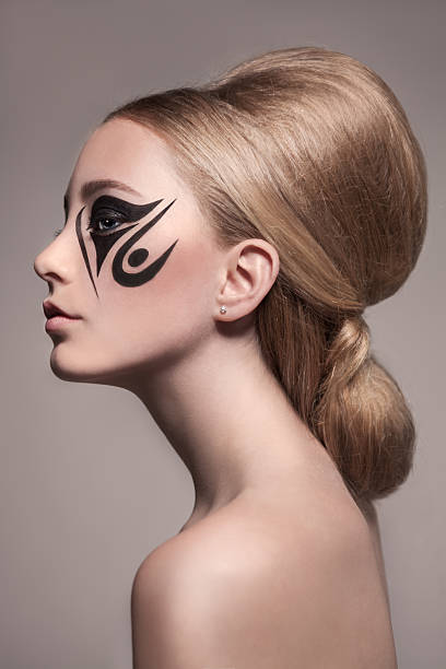 classy young girl tattoo make-up and hairdo - gesichtstattoos stock-fotos und bilder