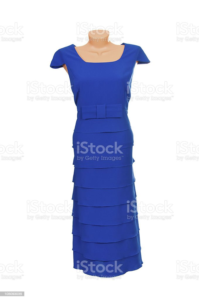 Elegante Hotel De Lujo En Un Vestido Azul En Blanco Foto De