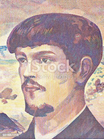 Claude Debussy portrait from French money