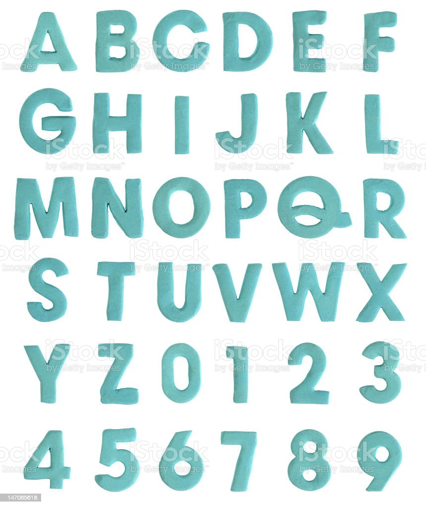 Clay Alphabet & Numbers royalty-free stock photo