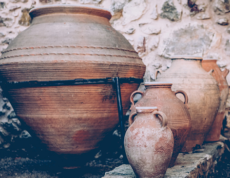Clay ancient jug . Vessels for water and wine.