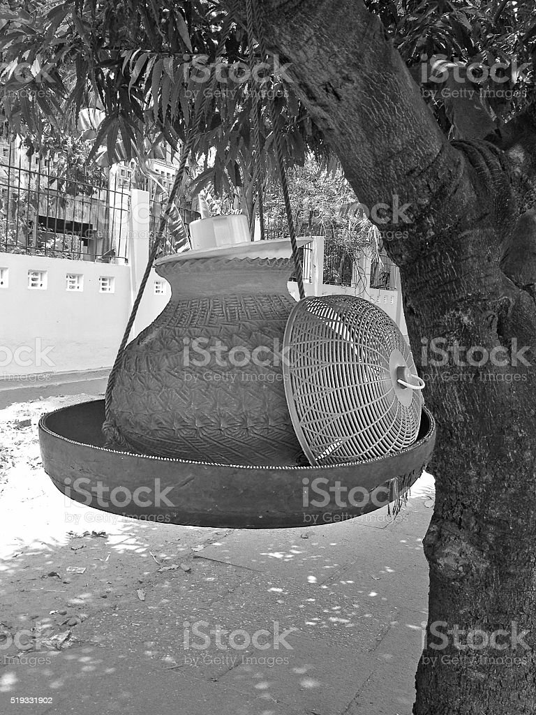 Clay containers containing drinking water stock photo