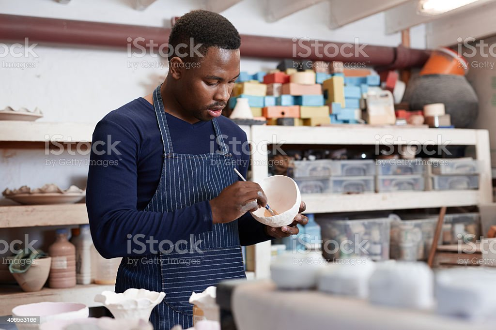 Clay craftsman at work stock photo