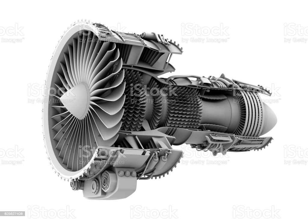 3D clay cutaway render of turbofan jet engine isolated on white background stock photo