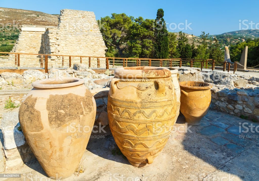 Clay jars at the Palace of Knossos, Crete, Greece. Knossos Palace is largest Bronze Age archaeological site on Crete and is considered Europe's oldest city, stock photo